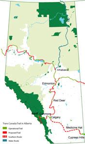 Map Of Canada Showing Alberta.Trans Canada Trail In Alberta Alberta Trail Net Information Centre